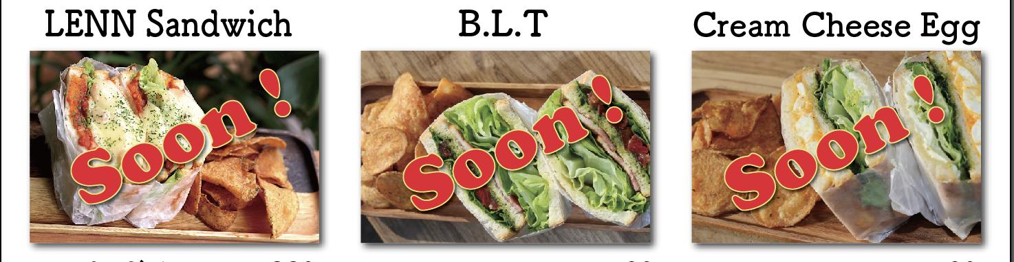 LENNサンドイッチ、BLT、クリームチーズ玉子サンドイッチ(レンカフェ(LENN CAFE))